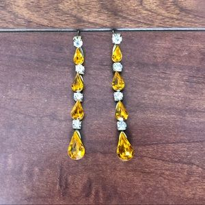 Crystal and Yellow Stone Pierced earrings